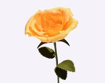 Crepe Paper Rose, Yellow -Single Stem