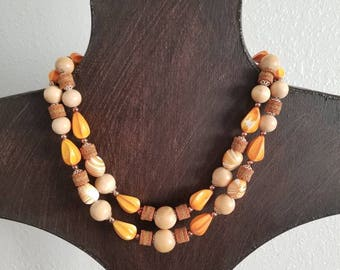 Western Germany Wood/Bead Necklace