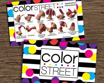 Color Street How To Apply Double Sided Card, Digital-Printable-Customized Business Card/Instuctions Card, Color Street Double Sided Card