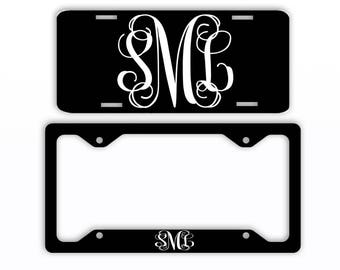 Black Vine License Plate Car Tag Monogram Frame Personalized Set Custom Initials Car Coasters