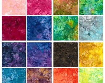 "Batik Fat Quarter packs the full collection of 16 hand dyed fat quarter 18""x22"" approx"