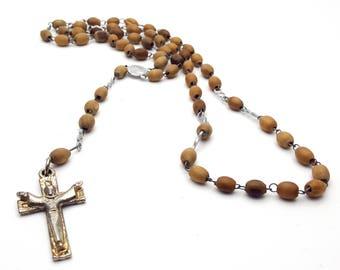 Vintage Rosary Wood Beads Virgin Mary Center Silver Tone Metal Crucifix Cross First communion Prayer Confirmation Spiritual Sacred Wedding