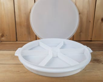 Vintage Tupperware 70s White Party Platter Divided Sections Large Round Vegetable Tray Dip Space Container Canada Kitchen Crackers