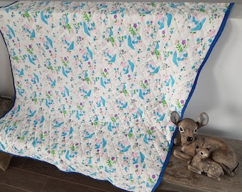 "Vintage Cute Mushrooms & Bunnies Changing Mat / 36"" x 59"" / 60s Pattern / Travel Friendly Changing Pad / Change Table Sheet / Protector"
