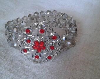 Bracelet transparent beads and Red rhinestones