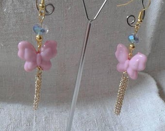 pink butterfly earrings and chain