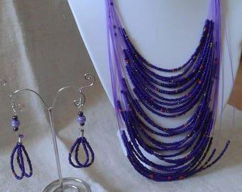 multistrands of small purple beads set