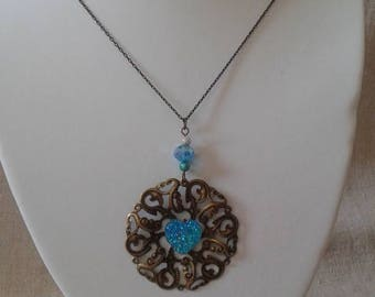"""large print and blue heart"" necklace"