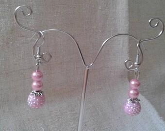 """""""three Pink Pearl"""" earrings"""