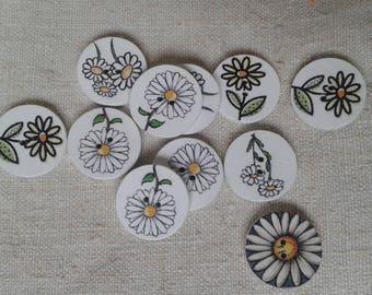 set of 6 wooden flower buttons