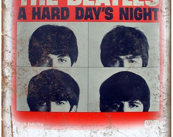 "10"" x 7"" THE BEATLES A hard days night metal sign new"