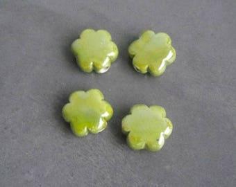 Lime green flower shaped ceramic beads