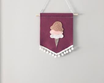 Neapolitan mini felt banner , felt banner , ive cream banner , nursery banner , gallery banner