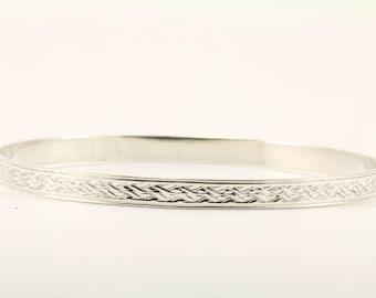 Vintage Textured Bangle Bracelet Sterling Silver BR 1114