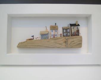 Four cottages on slipway - framed.