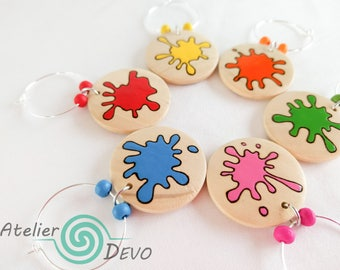 Paint stains glass markers (6), wooden glass tags, wine glass tags, colorful glass markers, glass identifiers, hostess gift, woodburning