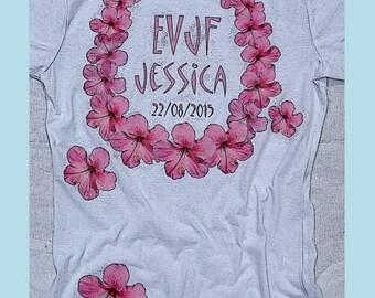 t-shirt personalized bachelorette party Bachelorette girl Hawaiian Flower necklace