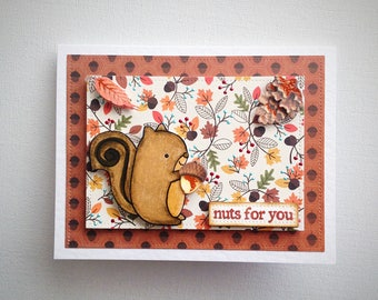Squirrel card, woodland card, squirrel love card, animal card, nuts about you, crazy for you card, 3d card, woodland love card, unique cards