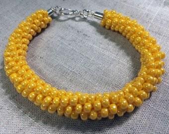 Kumihimo Bracelet:  Yellow