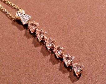 Natural morganite and diamond pendant in 9k gold