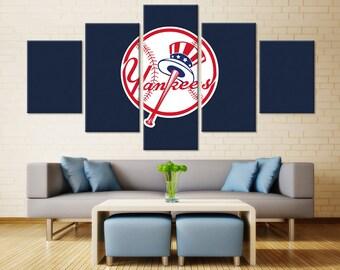 New York Yankees Wall Art Home Decor / MLB Yankees Sports Canvas Print /  Gifts for Him / Baseball Wall Art / Man Cave Ideas