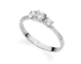 Three Diamonds Engagement Ring, Diamond Engagement Ring, 3 Stones Diamond Ring, Bridal Ring, Promise Ring, Real Natural Diamond
