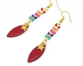"""Enamelled sequin chain Spike """"gold/mutlicolore"""" chic and trendy earrings"""