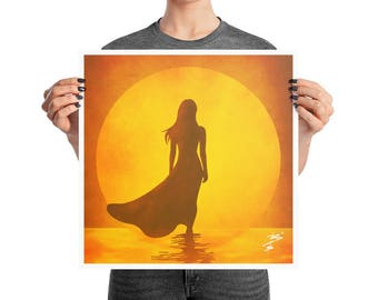 Sunset Woman Silhouette Beach Poster, 10x10, 12x12, 16x16, 18x18, Simple Print Decor, Abstract Modern Print