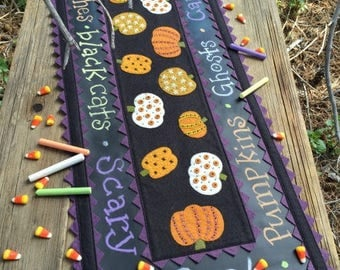 Wool Applique Pattern Stitches on Pumpkin Table runner Pattern from Bareroots 14 x 35""