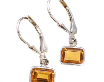 Handmade sterling silver Citrine Earrings