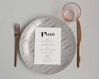 Modern Black and White Wedding Menu -  Minima Monochrome Wedding Menu - On the Day Stationery - Wedding Day