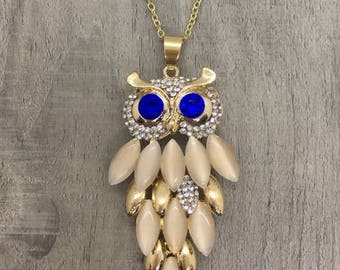 Gold or Silver Owl Pendant Necklace