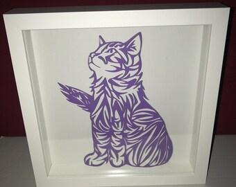 Cat 2 sheet of paper cut