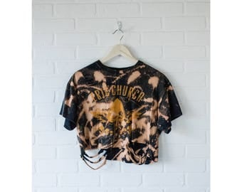Eric Church - Distressed shirt - Custom band shirt - Reworked country band tee - Bleached crop top - Small