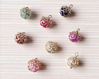 10pcs Handmade Hollow Pearl Crystal Lantern Charms, Lantern Charm ,Simulated Pearl Charm ,Flower Charm Diy Accessories Charms Findings