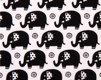 Michael Miller MINI ELEPHANTS black kids patchwork fabric
