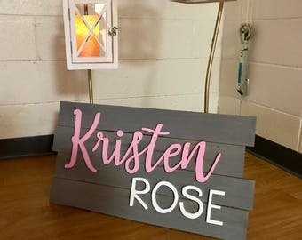 Baby Name Sign | Baby Shower Gift | Personalized Wooden Name Sign | Baby Name Wall Decor | Personalized Baby Sign | Wooden Sign for Nursery