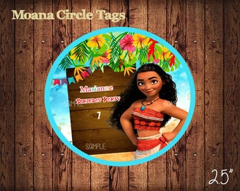 Moana Circle Tags , Personalized Moana Labels, Party Labels, Printable Supplies, Party Supplies