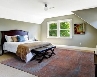 """Overdyed Rug, Living room rug, Persian Rug, Oriental Rug, Vintage Rug, Home Decor, Christmas rug, New Year Rug, Gift Rug, 10'7""""X7'7"""", S1399"""