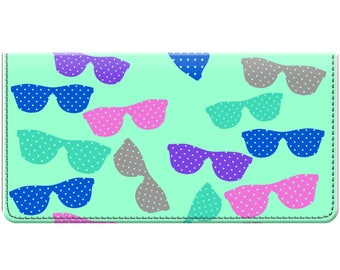 Multi-colored Sunglass Print Trendy Checkbook Cover for Teens and Women