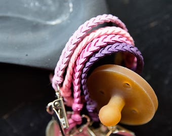 Leather Suede Pacifer Clip(pink & purples)