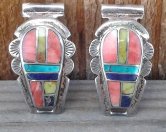 Vintage Native American Sterling Silver and Multi Stone Inlay Watch Tips