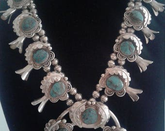 Vintage Navajo Native American Sterling Silver and Turquoise Squash Blossom Necklace