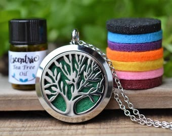 Stainless Steel Essential Oil Diffuser Necklace//Tree of Life//Aromatherapy// With a Choice of Essential Oil (12 Variety)