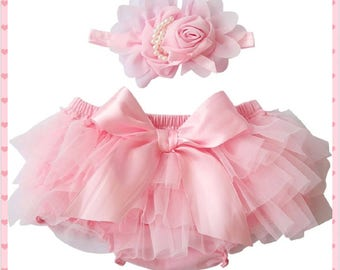 Pink, Ruffled Bloomers, Baby Girl Bloomers with Matching Pearl Bow