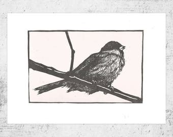 House Sparrow (Linocut, 2-Colour)