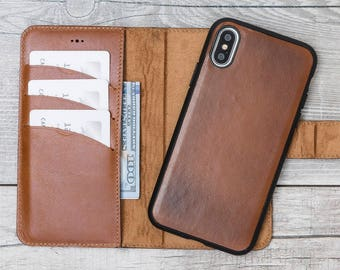 Burnished Brown iPhone X Wallet Case, Detachable Leather iPhone X Case, Leather iPhone X Wallet Case