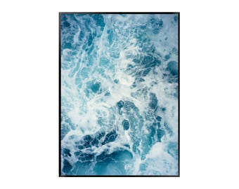 Blue Waves Print | Nature | Blue - White | Ocean - Sea - Poster