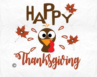 Happy thanksgiving turkey SVG Clipart Cut Files Silhouette Cameo Svg for Cricut and Vinyl File cutting Digital cuts file DXF Png Pdf Eps