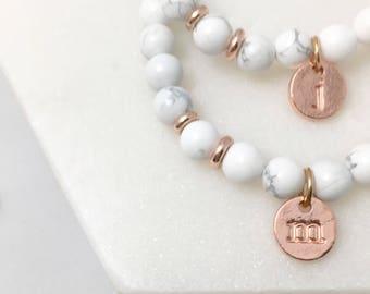 Rose Gold Initial Marble Bracelet